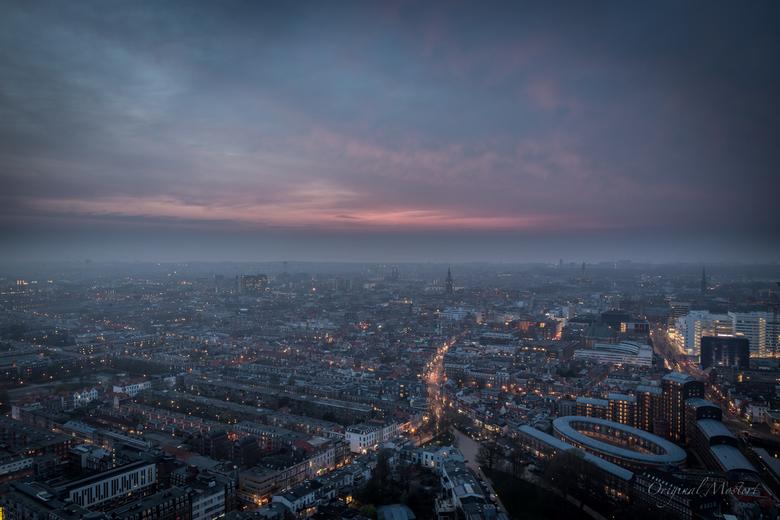 Aerial view Den Haag tijdens het magische uur