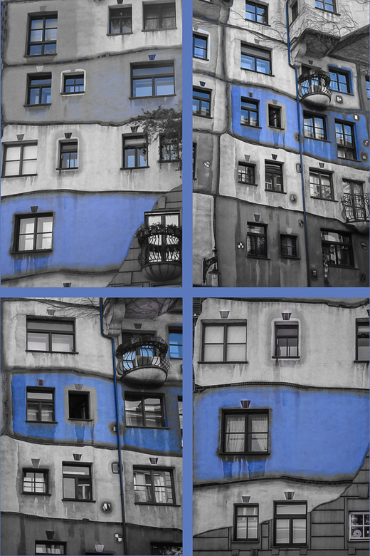 Collage Blauw Hunderdwasserhaus