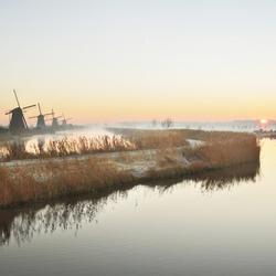 Eerste winterbeeld in Kinderdijk