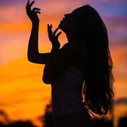 Dani in silhouet
