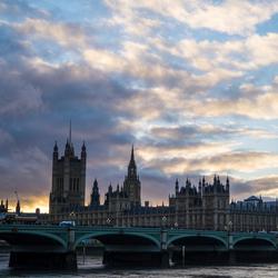 Big Ben met zonsondergang