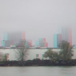 Rotterdan Nieuwe Maas in mist 3D