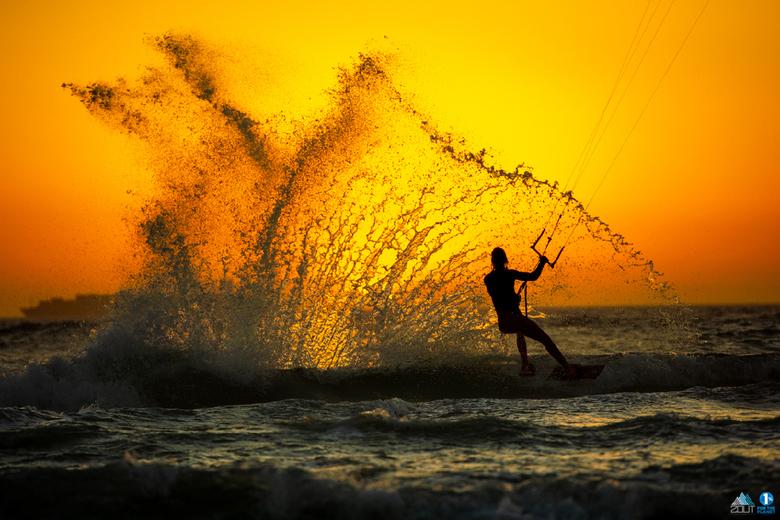 Kitesurfer in actie -