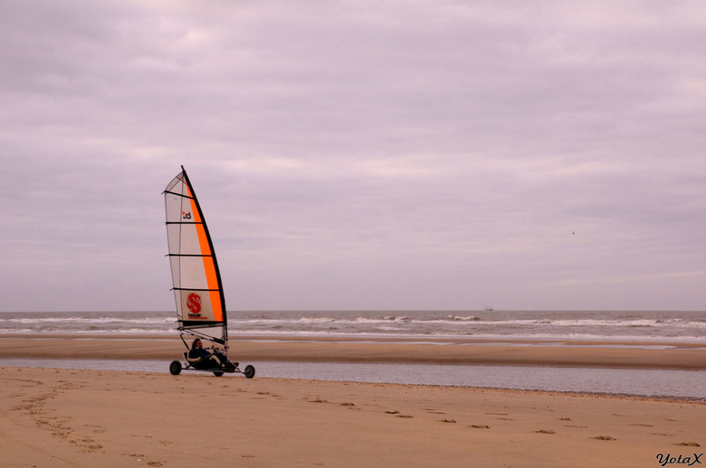 eenzame strandsurfer - Op een grauwe en kille winterse dag liet deze gekleurde strandsurfer zich mee voeren door een straffe zeewind.
