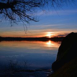 Zonsondergang op 25 jan. na een....