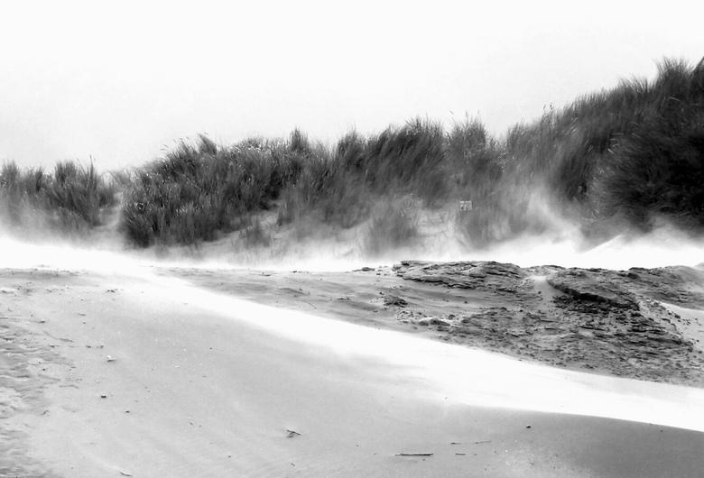 Storm aan zee - Harde wind op het strand van Ameland