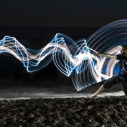 Lightpainting on a beach