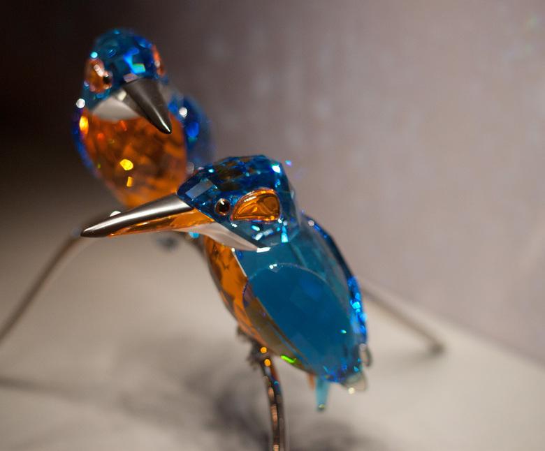 Ijsvogels - Kristallen ijsvogels uit Kristallwelten Swarovski in Oostenrijk.