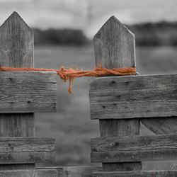 The orange string around the fence