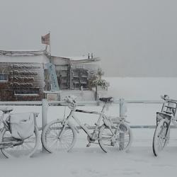 sneeuwschilderij boulevard Scheveningen