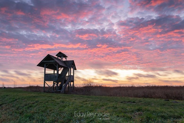 Sunrise Zuidlaardermeer - Kleurrijke zonsopkomst bij de uitkijktoren aan het Zuidlaardermeer.