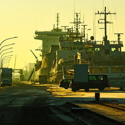 Bremerhaven in de ochtend op de kade.