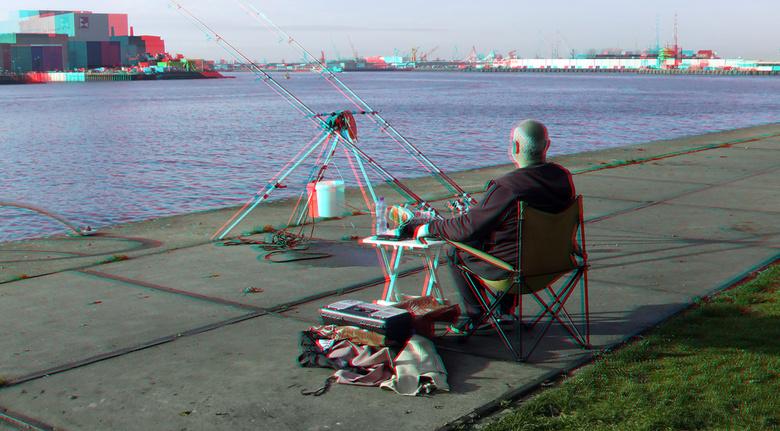 Visser Sluisjesdijk Rotterdam 3D - Visser Sluisjesdijk Rotterdam 3D<br /> anaglyph stereo red/cyan
