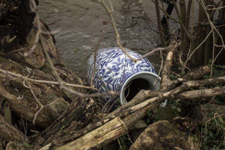 Vaas in het water - Volgens mij lag deze vaas daar zodat padden aan land kunnen of iets dergelijks.