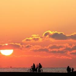 Ondergaande zon Scheveningen