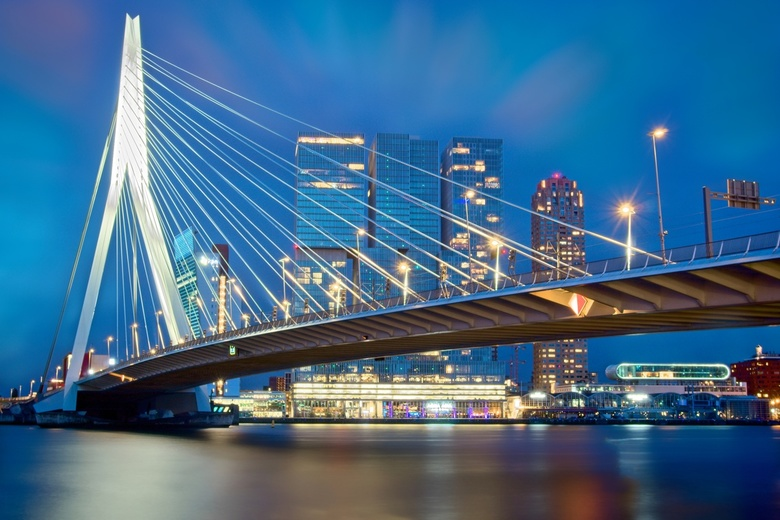 Erasmus Bridge - This is a long exposure during blue hours. I was in Rotterdam was a work summit, I took with me the Sony 6000 camera which is smaller