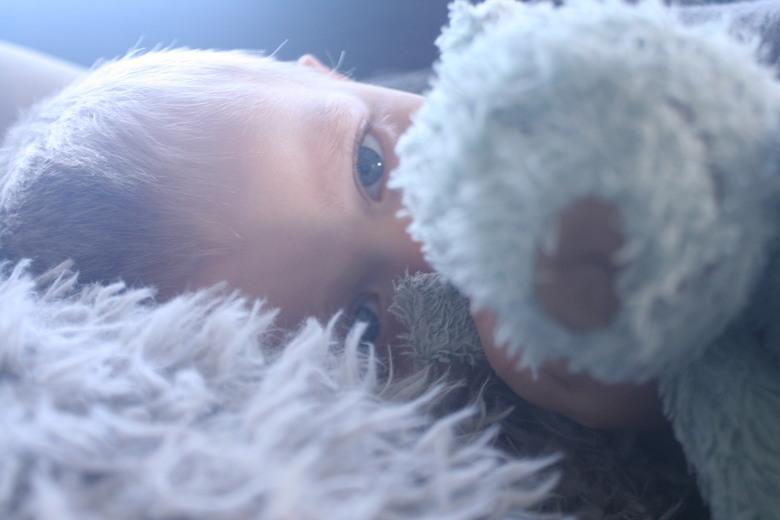 finn mn zn konijn - finn lag heerlijk op de bank met zn lievelings knuffel