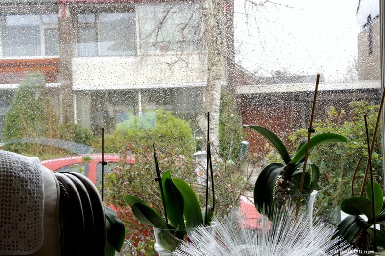 regen water - Het water sputterde tegen de ruiten aan.<br /> Fijne zondag,hopelijk is die niet zo nat..<br /> Maudy