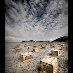 beach of boxes