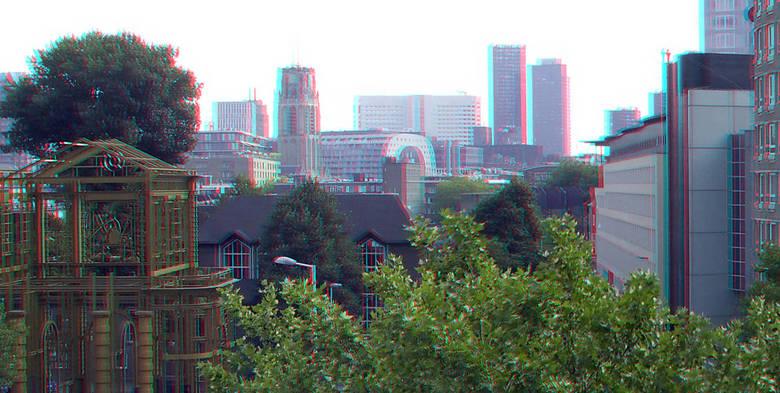 Zicht vanaf Rooftopbar Hofplein Rotterdam 3D - Zicht vanaf Rooftopbar Hofplein Rotterdam<br /> 3d anaglyph stereo red/cyan