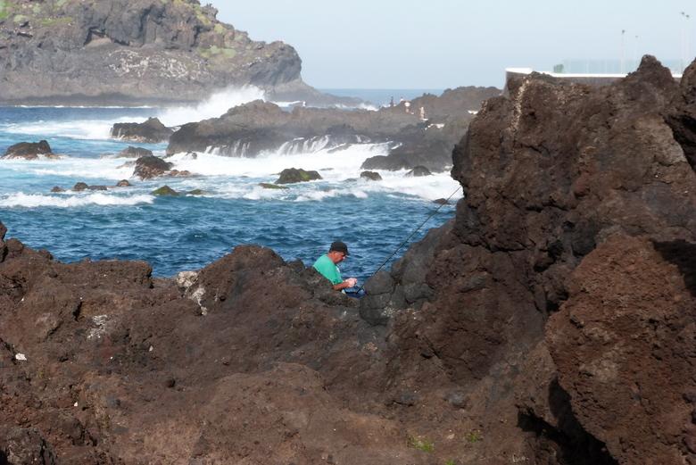 visser verstopt ................. - die had er geen zin in en verdween achter de rotsen , maar toen ik een foto wilde maken van die kolkende golven k