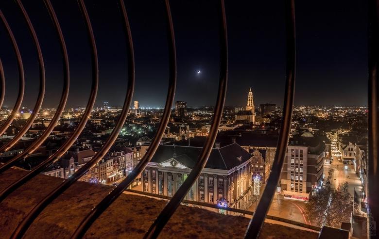 Uitzicht Martinitoren  - Van de week een uniek kansje gehad om in het donker op de Martinitoren te staan.