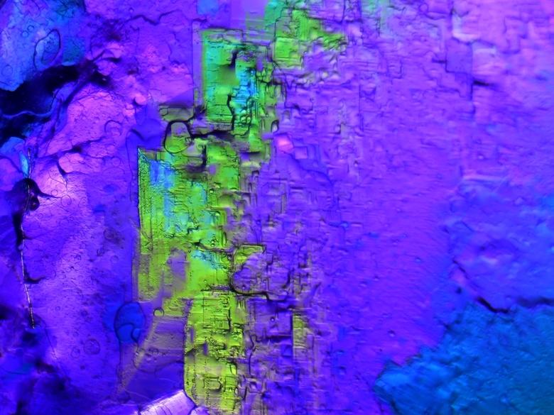Dubbel breking groen/paars - Ook dit materiaal (mijn lievelings materiaal, een zoetje) geeft fantastische landschapen en rots structuren. met de juist