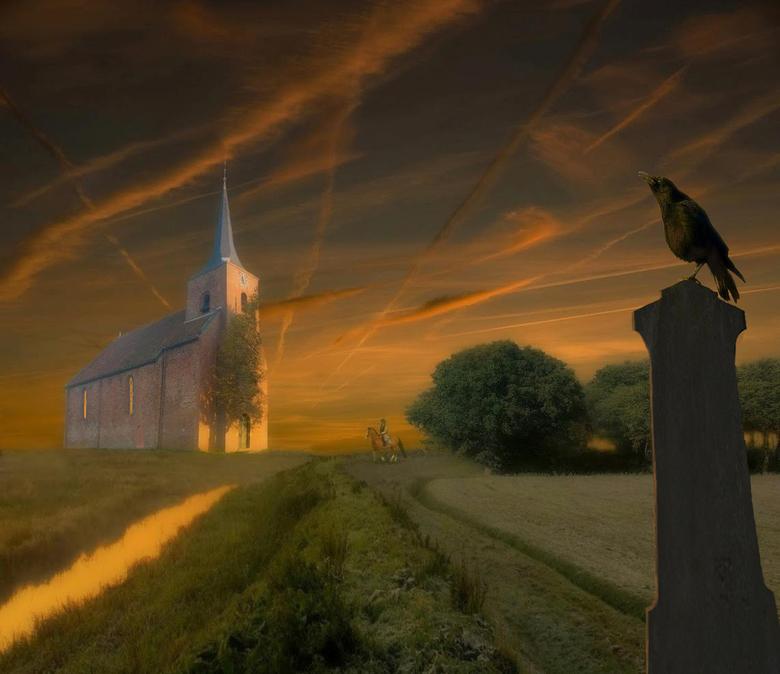 Een kerk in het open veld