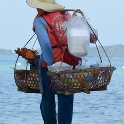 verkoper op het strand