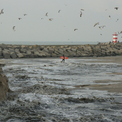 Surfer bang voor het water?