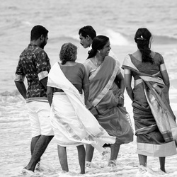 Strandvermaak in Tamil Nadu, Zuidoost India.