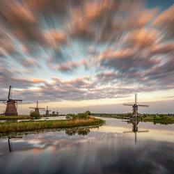 Cloudy Sunset Kinderdijk
