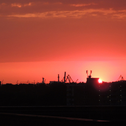 Sun down boven de Waalhaven (2)