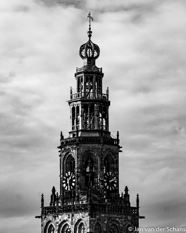 Top van Martinitoren. - Martinitoren Groningen genomen op het dak van spiks splinternieuwe Forum.