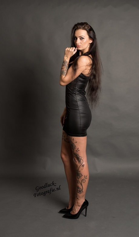 """Leather dress 2 - Model Rebecca<br /> <br /> <a href=""""http://www.goodluck-fotografie.nl/"""">goodluck-fotografie.nl</a>"""