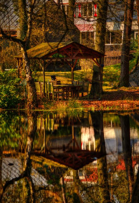 spiegel - Foto genomen midden in het bos.Sommige mensen hebben toch een mooie tuin!