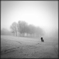 Golfer in de mist