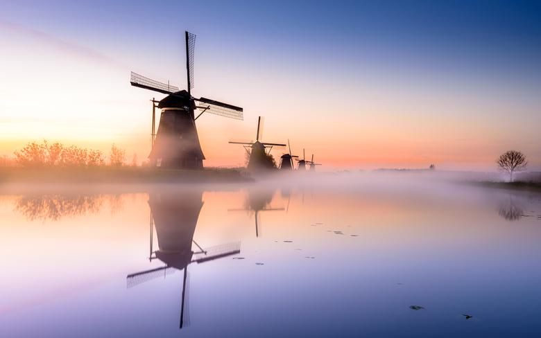 Dutch mills of Kinderdijk during sunrise