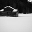 Schuur in sneeuwlandschap