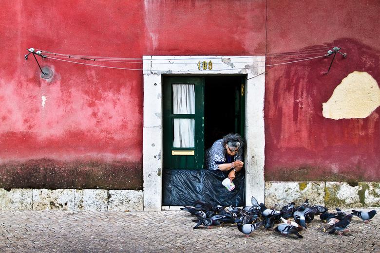 Duivenvrouwtje in Alfama - Een oude vrouw voert de duiven voor haar huisje in Alfama, de oudste wijk van Lissabon.