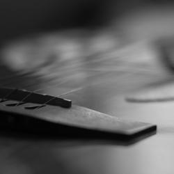 Zwart wit gitaar groot diafragma