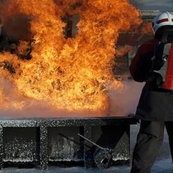 Brandweerman in actie