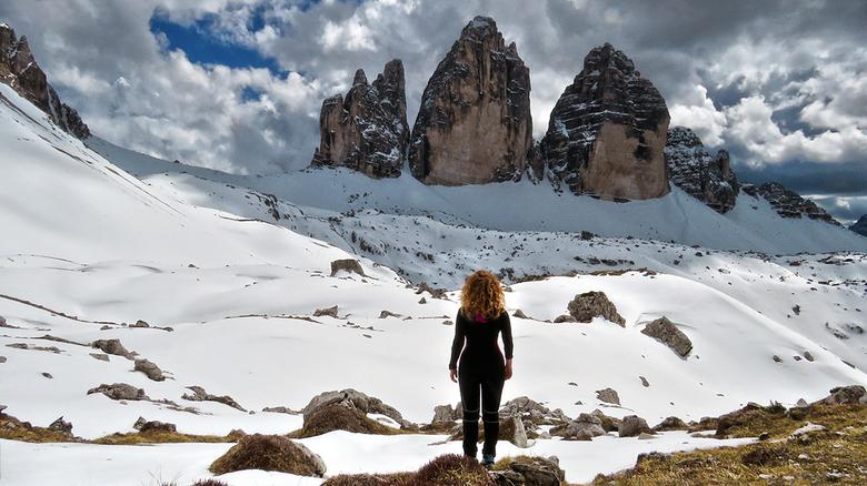 Selfie - Tre Cime di Lavaredo - Trentino-Alto Adige - Italia - Selfie, genomen vanaf een rots. In tegenstelling tot in de zomer was er helemaal nieman