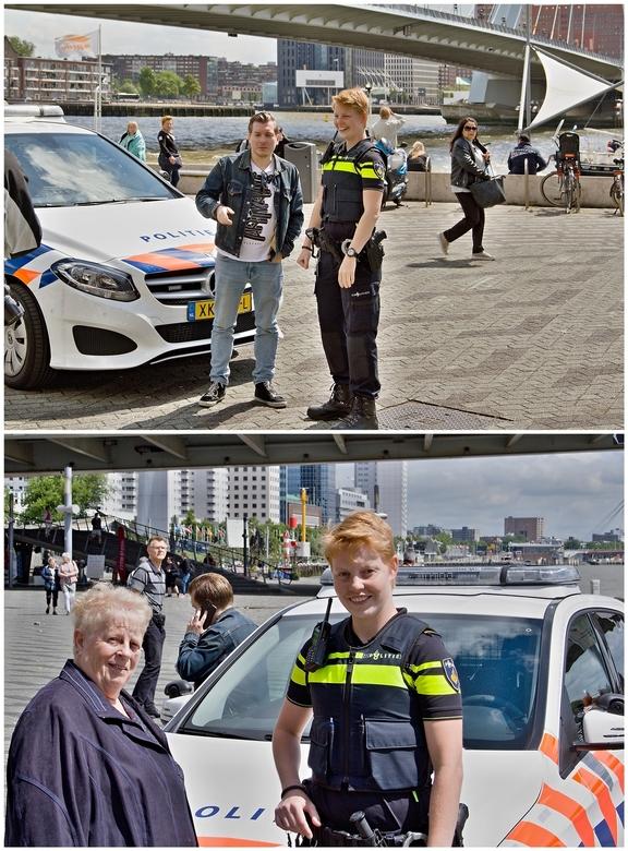 Politie op Willemsplein. - Op het Willemsplein waren ze op dat moment bezig met film opnamen van een agente in actie. Ik heb deze agente gevraagd of i