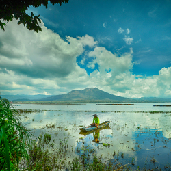 Fisherman At Batur Lake Bali