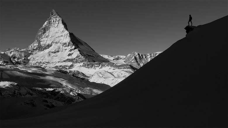 Matterhorn - Zwart wit foto van Europa's bekendste berg, de Matterhorn