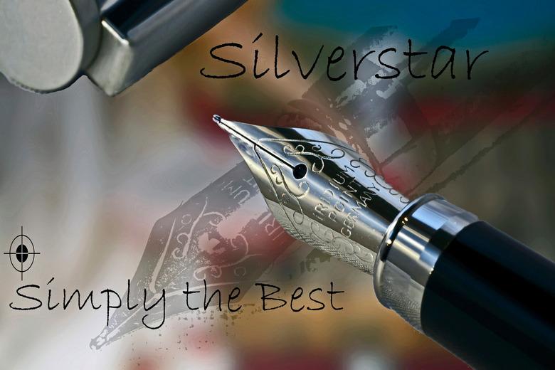 Silverstar - Reclame pen.<br /> Fictieve reclame gemaakt van een bestaand product, alleen de pen is echt, de rest is verzonnen ( opdracht toonbeeld 2