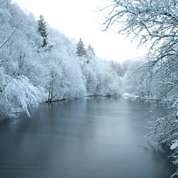 Winters meer in de Ardennen
