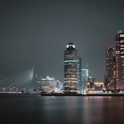 Erasmus bridge and skyline of Rotterdam