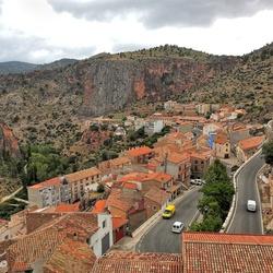 Het dorp Ayna, Spanje.